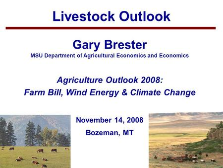 1 Livestock Outlook Gary Brester MSU Department of Agricultural Economics and Economics Agriculture Outlook 2008: Farm Bill, Wind Energy & Climate Change.