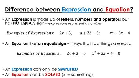 Difference between Expression and Equation?. L.O. To be able to solve Quadratic Equations There are several ways to solve a quadratic equation Factorising.