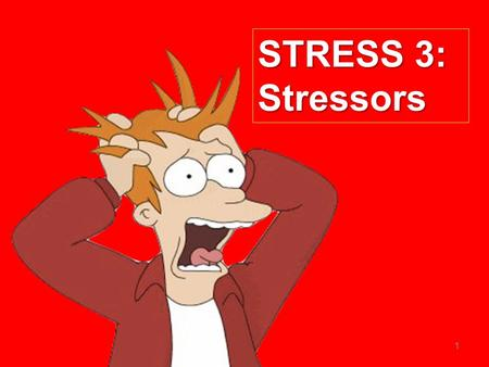 1 STRESS 3: Stressors. The specification  Stress as a bodily response  The body's response to stress  Stress-related illness and the immune system.