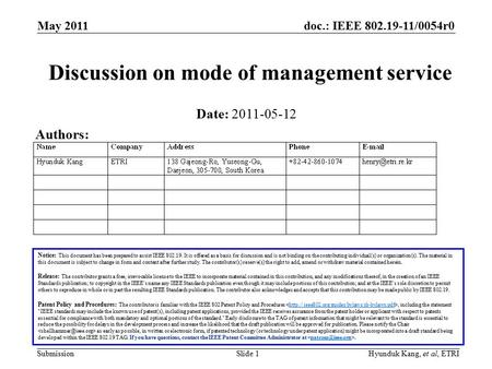Doc.: IEEE 802.19-11/0054r0 Submission May 2011 Slide 1Hyunduk Kang, et al, ETRI Discussion on mode of management service Notice: This document has been.