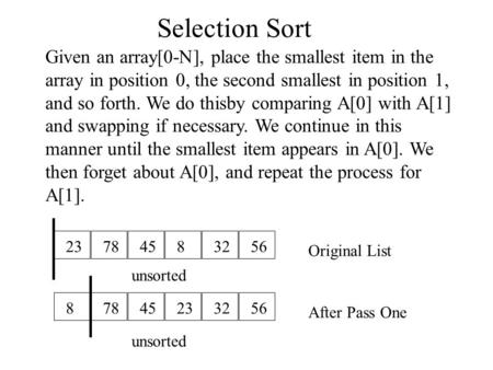 Selection Sort Given an array[0-N], place the smallest item in the array in position 0, the second smallest in position 1, and so forth. We do thisby comparing.