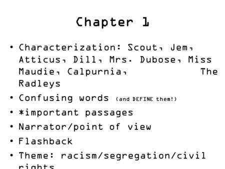 To Kill A Mockingbird Chapter work. - ppt download