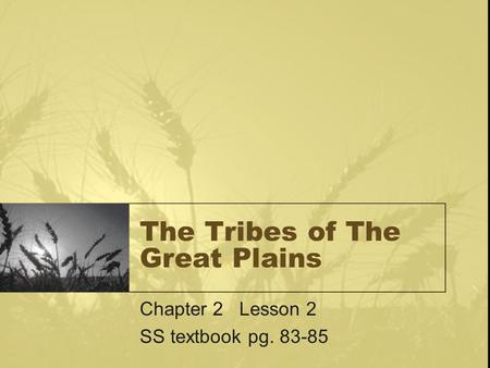 The Tribes of The Great Plains Chapter 2 Lesson 2 SS textbook pg. 83-85.