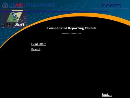 Head Office Branch Consolidated Reporting Module End…