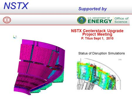 NSTX Supported by NSTX Centerstack Upgrade Project Meeting P. Titus Sept 1, 2010 Status of Disruption Simulations.