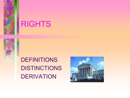 RIGHTS DEFINITIONS DISTINCTIONS DERIVATION. Misunderstandings about Rights The Assertion Of A Right = The Existence Of A Right. Rights Are Self—evident.