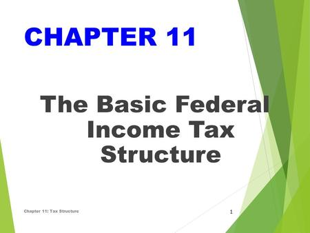 CHAPTER 11 The Basic Federal Income Tax Structure Chapter 11: Tax Structure 1.