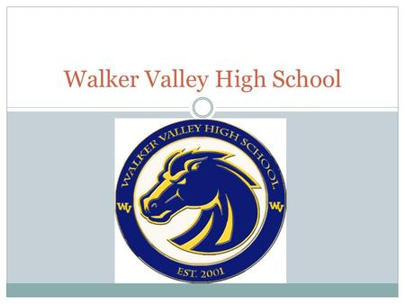 Walker Valley High School. MARCH 18, 2013 Parent Meeting Class of 2015.