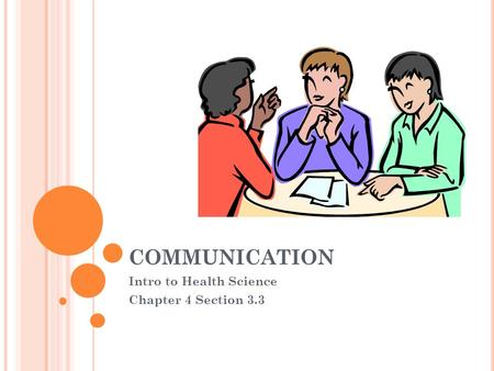 COMMUNICATION Intro to Health Science Chapter 4 Section 3.3.