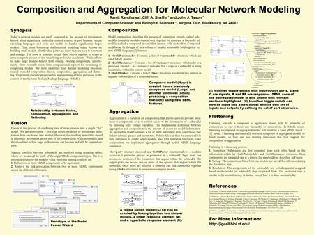 Composition and Aggregation for Molecular Network Modeling Ranjit Randhawa*, Cliff A. Shaffer* and John J. Tyson** Departments of Computer Science* and.