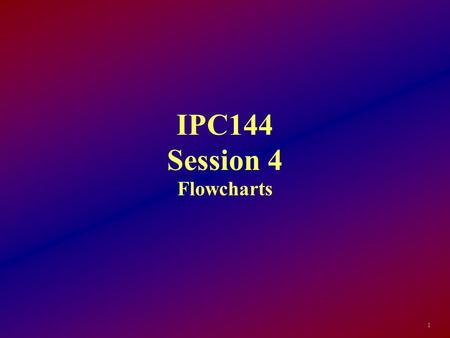 IPC144 Session 4 Flowcharts 1. Objectives: By the end of this session, the student will be able to: List the three elements of the Structure Theorem Identify.