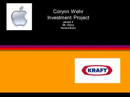 Corynn Wehr Investment Project period: 4 Mr. Ulicny Honors Econ.