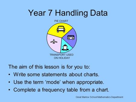 Year 7 Handling Data The aim of this lesson is for you to: Write some statements about charts. Use the term 'mode' when appropriate. Complete a frequency.