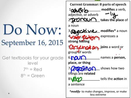 Do Now: September 16, 2015 Get textbooks for your grade level 7 th = Red 8 th = Green.