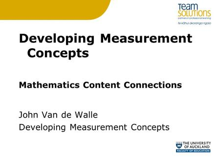 Developing Measurement Concepts
