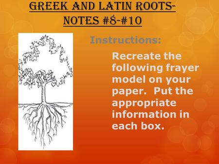 Greek and Latin Roots- Notes #8-#10 Instructions: Recreate the following frayer model on your paper. Put the appropriate information in each box.