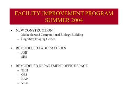 FACILITY IMPROVEMENT PROGRAM SUMMER 2004 NEW CONSTRUCTION –Molecular and Computational Biology Building –Cognitive Imaging Center REMODELED LABORATORIES.
