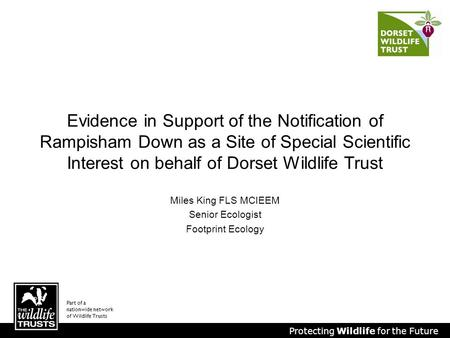 Protecting Wildlife for the Future Miles King FLS MCIEEM Senior Ecologist Footprint Ecology Evidence in Support of the Notification of Rampisham Down as.