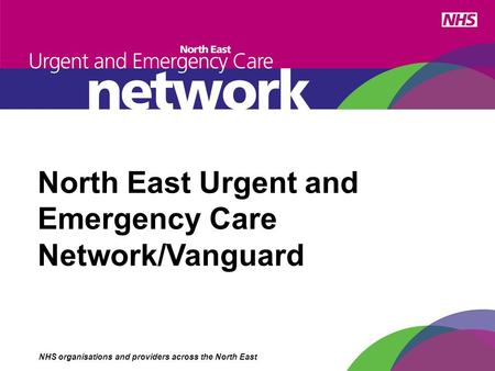 North East Urgent and Emergency Care Network/Vanguard NHS organisations and providers across the North East.