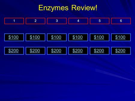 $200 $100 $200 $100 $200 126345 Enzymes Review!. $100 Jeopardy Menu Enzymes are what type of macromolecule? Protein.