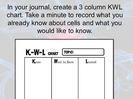 In your journal, create a 3 column KWL chart. Take a minute to record what you already know about cells and what you would like to know.