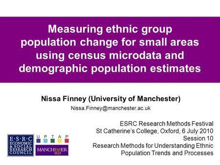 Measuring ethnic group population change for small areas using census microdata and demographic population estimates ESRC Research Methods Festival St.