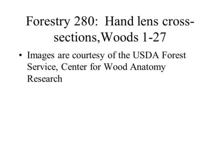 Forestry 280: Hand lens cross- sections,Woods 1-27 Images are courtesy of the USDA Forest Service, Center for Wood Anatomy Research.