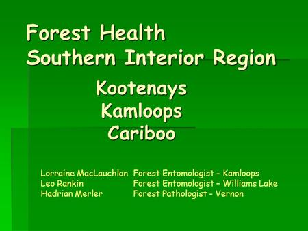 Forest Health Southern Interior Region KootenaysKamloopsCariboo Lorraine MacLauchlanForest Entomologist - Kamloops Leo RankinForest Entomologist – Williams.