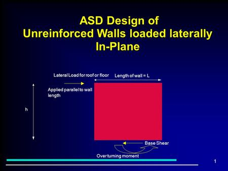 1 ASD Design of Unreinforced Walls loaded laterally In-Plane ASD Design of Unreinforced Walls loaded laterally In-Plane Lateral Load for roof or floor.