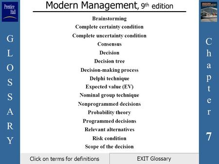 Chapter7Chapter7 GLOSSARYGLOSSARY EXIT Glossary Modern Management, 9 th edition Click on terms for definitions Brainstorming Complete certainty condition.