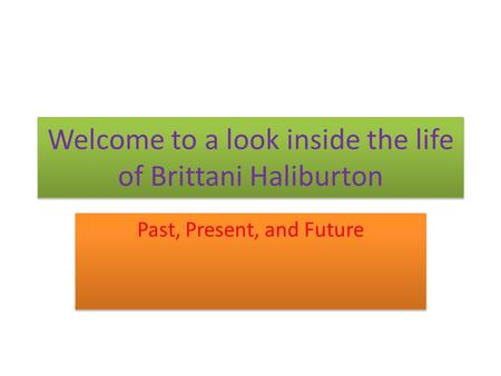 Welcome to a look inside the life of Brittani Haliburton Past, Present, and Future.