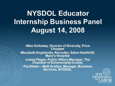 NYSDOL Educator Internship Business Panel August 14, 2008 Wes Holloway, Director of Diversity, Price Chopper Marybeth Englebride, Recruiter, Seton Health/St.