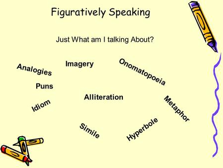 Figuratively Speaking Just What am I talking About? Idiom Onomatopoeia Simile Metaphor Hyperbole Puns Analogies Imagery Alliteration.
