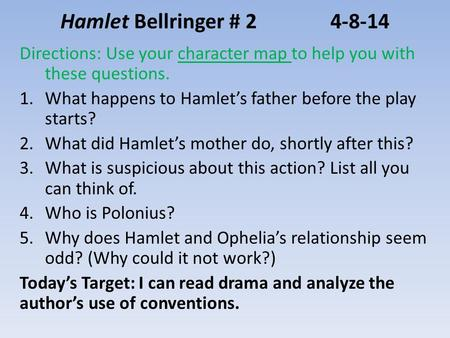 Hamlet Bellringer # 24-8-14 Directions: Use your character map to help you with these questions. 1.What happens to Hamlet's father before the play starts?