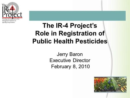 The IR-4 Project's Role in Registration of Public Health Pesticides Jerry Baron Executive Director February 8, 2010.
