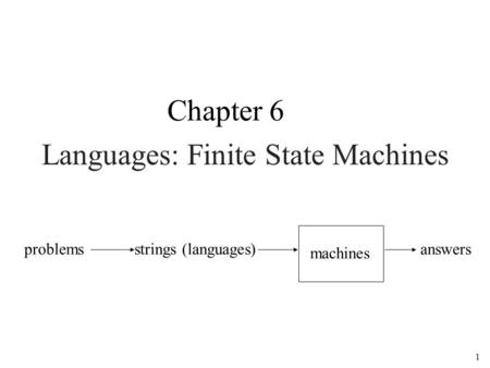 1 Languages: Finite State Machines Chapter 6 problemsstrings (languages) machines answers.