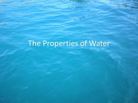 The Properties of Water. Purpose Describe the properties of water using the terms adhesion, cohesion and capillary action.