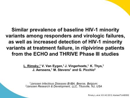 Rimsky L, et al. XIX IAC 2012. Abstract TUAB0302 Similar prevalence of baseline HIV-1 minority variants among responders and virologic failures, as well.