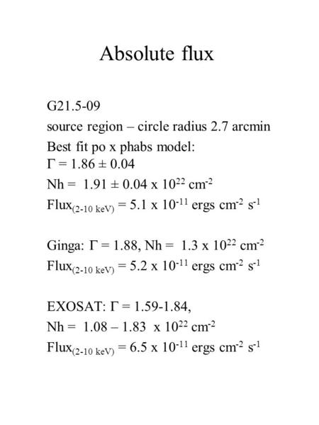 Absolute flux G21.5-09 source region – circle radius 2.7 arcmin Best fit po x phabs model:  = 1.86 ± 0.04 Nh = 1.91 ± 0.04 x 10 22 cm -2 Flux (2-10 keV)