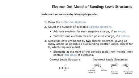Electron-Dot Model of Bonding: Lewis Structures Lewis structures are drawn by following simple rules. 1.Draw the molecular skeleton 2.Count the number.