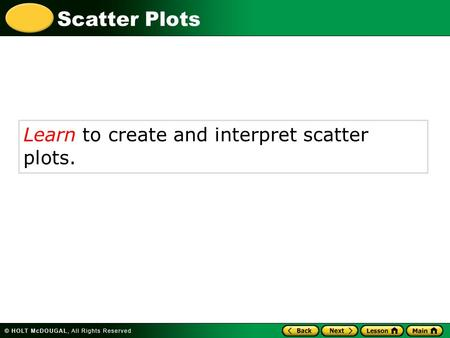 Scatter Plots Learn to create and interpret scatter plots.