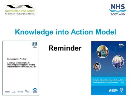 Knowledge into Action Model Reminder. Knowledge into Action Model Know-what Journals MEDLINE Cochrane Know-where Systems Processes Variation Know-who.