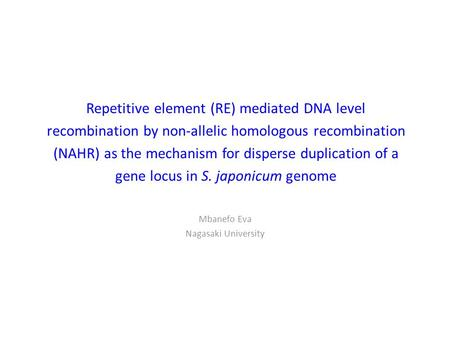 Repetitive element (RE) mediated DNA level recombination by non-allelic homologous recombination (NAHR) as the mechanism for disperse duplication of a.