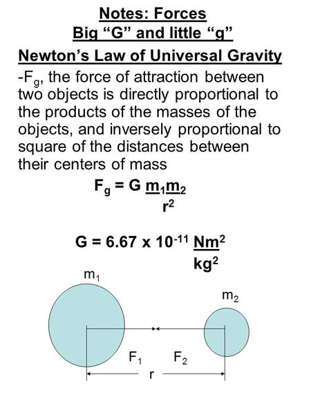 "Notes: Forces Big ""G"" and little ""g"" Newton's Law of Universal Gravity -F g, the force of attraction between two objects is directly proportional to the."