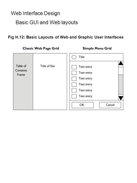 Web Interface Design Basic GUI and Web layouts Fig H.12: Basic Layouts of Web and Graphic User Interfaces.
