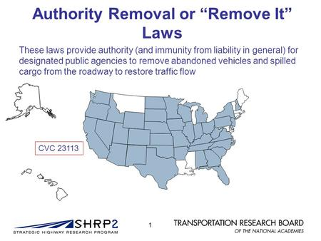 "Authority Removal or ""Remove It"" Laws These laws provide authority (and immunity from liability in general) for designated public agencies to remove abandoned."