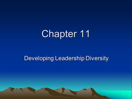 1 Chapter 11 Developing Leadership Diversity. 2 Chapter Objectives Understand and reduce the difficulties faced by minorities in organizations. Apply.