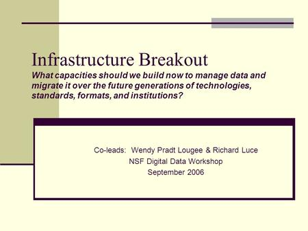 Infrastructure Breakout What capacities should we build now to manage data and migrate it over the future generations of technologies, standards, formats,