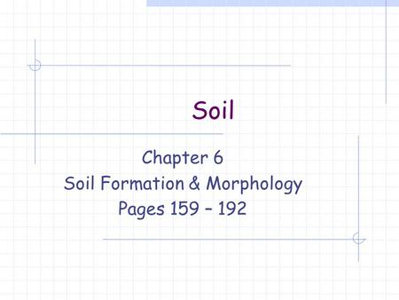 Soil Chapter 6 Soil Formation & Morphology Pages 159 – 192.