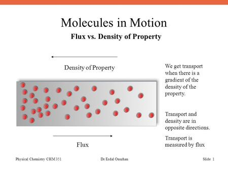 Molecules in Motion Physical Chemistry CHM 351Dr Erdal OnurhanSlide 1 Flux vs. Density of Property We get transport when there is a gradient of the density.